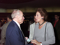 Montreal, 1999-08-26. Former Canadian Prime Minister ;  The Right Honorable Pierre Eliott Trudeau talking with former Liberal deputy PÈpin at the opening night for the World Film Festival in Montreal, Canada<br /> Photo : (c) Pierre Roussel, 1999<br /> KEYWORDS :  Pierre Trudeau, Canada, Politic