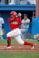 August 11, 2009:  Catcher Luis De La Cruz of the Batavia Muckdogs during a game at Dwyer Stadium in Batavia, NY.  The Muckdogs are the Short-Season Class-A affiliate of the St. Louis Cardinals.  Photo By Mike Janes/Four Seam Images
