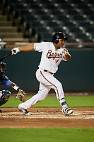 Bowie Baysox right fielder Ademar Rifaela (1) follows through on a swing during the second game of a doubleheader against the Trenton Thunder on June 13, 2018 at Prince George's Stadium in Bowie, Maryland.  Bowie defeated Trenton 10-1.  (Mike Janes/Four Seam Images)