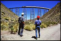 """The train to the clouds - """"Tren a las Nubes"""". One of the three highest trains in the world cross the argentinian Andes. At 4.270 m the train drive over a  70 m high Viaduct.<br /> The trip cost 1515,- US-Dolar/pP.<br /> 28.10.2000, San Antonio de los Cobres<br /> Copyright: Christian-Ditsch.de<br /> [Inhaltsveraendernde Manipulation des Fotos nur nach ausdruecklicher Genehmigung des Fotografen. Vereinbarungen ueber Abtretung von Persoenlichkeitsrechten/Model Release der abgebildeten Person/Personen liegen nicht vor. NO MODEL RELEASE! Nur fuer Redaktionelle Zwecke. Don't publish without copyright Christian-Ditsch.de, Veroeffentlichung nur mit Fotografennennung, sowie gegen Honorar, MwSt. und Beleg. Konto: I N G - D i B a, IBAN DE58500105175400192269, BIC INGDDEFFXXX, Kontakt: post@christian-ditsch.de<br /> Urhebervermerk wird gemaess Paragraph 13 UHG verlangt.]"""