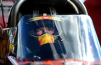 Sept 8, 2012; Clermont, IN, USA: NHRA top fuel dragster driver Terry McMillen during qualifying for the US Nationals at Lucas Oil Raceway. Mandatory Credit: Mark J. Rebilas-