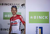 Tim Wellens (BEL/Lotto Soudal) on podium after ending up 3th place in the GC. <br /> <br /> Binckbank Tour 2018 (UCI World Tour)<br /> Stage 7: Lac de l'eau d'heure (BE) - Geraardsbergen (BE) 212.7km