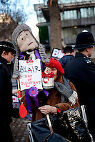 UK. London. 29th January 2010.A demonstrator against Tony Blair outside the Chilcot Inquiry where he was due to give evidence on the Iraq war..©Andrew Testa for the New York Times