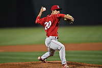 Pitcher Nick Fanti (20) of the Lakewood BlueClaws delivers a pitch in the rain in the ninth inning of a game against the Columbia Fireflies on Saturday, May 6, 2017, at Spirit Communications Park in Columbia, South Carolina. Lakewood won, 1-0, as Fanti combined with Trevor Bettencourt for a no-hitter. (Tom Priddy/Four Seam Images)