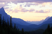 Canada, Alberta, Banff National Park, mountain range at dusk