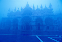 Italy, Venice. Basilica San Marco in the fog in blue tones