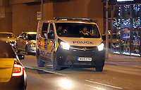 Pictured: A police car in the early hours of Saturday, 17 December, 2016<br /> Re: Mad or Black Friday in Middlesbrough, England, UK