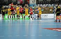 Handball Frauen / Damen  / women 1. Bundesliga - DHB - HC Leipzig : Frankfurter HC - im Bild: Leipziger Abwehr als Totale . Foto: Norman Rembarz .