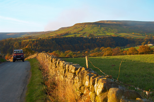 Farndale farm with autumn colours and Landrover, North Yorkshire Moors National Park, England.