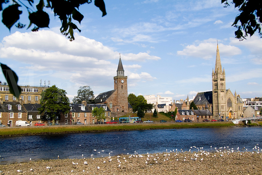 Skyline and river of quaint town of Inverness, Scotland in the Highlands (home of the Loch Ness Monster)