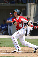 Outfielder Cody Puckett #6 of the Carolina Mudcats at bat during a game against the Chattanooga Lookouts on May 22, 2011 at Five County Stadium in Zebulon, North Carolina. Photo by Robert Gurganus/Four Seam Images.