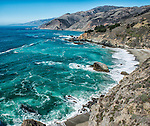 A stretch of the California coast as seen from Highway 1 in Big Sur.