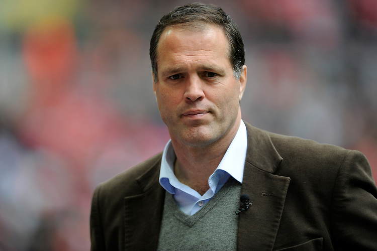 Former England player and Sky presenter, Martin Bayfield, during the Aviva Premiership match between Saracens and Harlequins at Wembley Stadium on Saturday 31st March 2012 (Photo by Rob Munro)