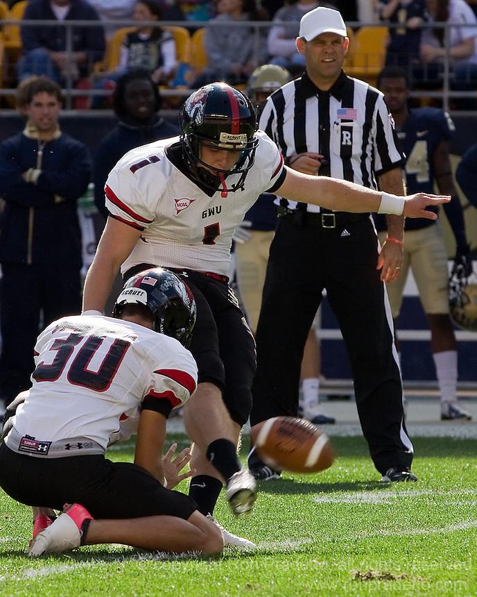 Gardner-Webb kicker Trever Austin (1) misses a 40-yard field goal as Bo Lindsey (30) holds the ball. The Pitt Panthers defeated the Gardner-Webb Runnin Bulldogs 55-10 at Heinz Field, Pittsburgh PA on September 22, 2012..