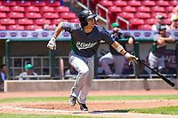Clinton LumberKings shortstop Johnny Adams (26) swings at a pitch during a Midwest League game against the Cedar Rapids Kernels on May 28, 2018 at Perfect Game Field at Veterans Memorial Stadium in Cedar Rapids, Iowa. Clinton defeated Cedar Rapids 4-3. (Brad Krause/Four Seam Images)