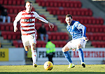 St Johnstone v Hamilton Accies…26.10.19   McDiarmid Park   SPFL<br />Drey Wright and Adrian Beck<br />Picture by Graeme Hart.<br />Copyright Perthshire Picture Agency<br />Tel: 01738 623350  Mobile: 07990 594431