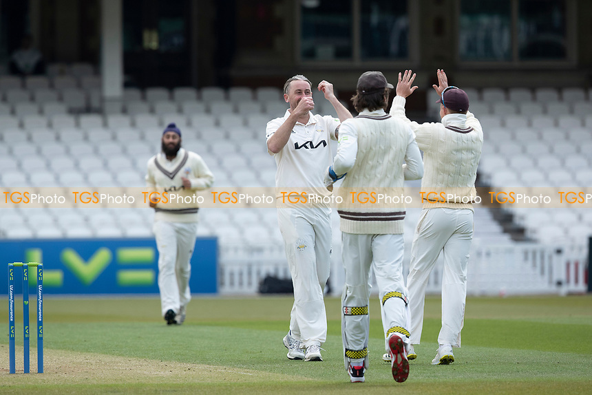 Rikki Clarke, Surrey CCC and team mates celebrate the opening wicket during Surrey CCC vs Hampshire CCC, LV Insurance County Championship Group 2 Cricket at the Kia Oval on 1st May 2021