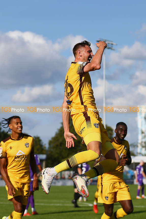 Richie Bennett of Sutton United scores the second goal for his team and celebrates during Sutton United vs Stevenage, Sky Bet EFL League 2 Football at the VBS Community Stadium on 11th September 2021