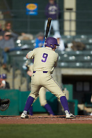Daylan Nanny (9) of the Western Carolina Catamounts at bat against the Saint Joseph's Hawks at TicketReturn.com Field at Pelicans Ballpark on February 23, 2020 in Myrtle Beach, South Carolina. The Hawks defeated the Catamounts 9-2. (Brian Westerholt/Four Seam Images)