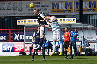 24th April 2021; Dens Park, Dundee, Scotland; Scottish Championship Football, Dundee FC versus Raith Rovers; Charlie Adam of Dundee competes in the air with Kyle Benedictus of Raith Rovers