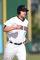 Michael Snyder (29) of the Inland Empire 66ers runs the bases during a game against the Lake Elsinore Storm at San Manuel Stadium on May 27, 2015 in San Bernardino, California. Lake Elsinore defeated Inland Empire, 12-9. (Larry Goren/Four Seam Images)