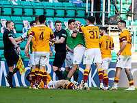 24th April 2021; Easter Road, Edinburgh, Scotland; Scottish Cup fourth round, Hibernian versus Motherwell; tempers flair after the challenge on Melker Hallberg of Hibernian by Nathan McGinley of Motherwell