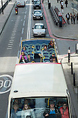 Tourist sightseeing bus in the City of London