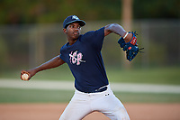 Lebarron Johnson during the WWBA World Championship at the Roger Dean Complex on October 20, 2018 in Jupiter, Florida.  Lebarron Johnson is a right handed pitcher from Jacksonville, Florida who attends Paxon School for Advanced Studies.  (Mike Janes/Four Seam Images)