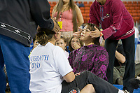 Sheila Randazzo in the ear pull  at the 2007 World Eskimo Indian Olympics, held in Anchorage, Alaska.