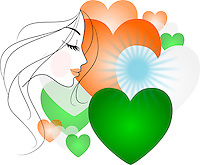 Vector - Side profile sketch of a beautiful woman with hearts of Indian flag colors in the background.<br /> <br /> Suitable for projects related to Indian Republic Day (26th January), Indian Independence Day (15th August) or other patriotic themes.<br /> <br /> This image is also available as EPS Vector and PNG format