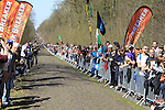 Huge crowds gather at Sector 18 la Trouee de Arenberg during the 113th edition of the Paris-Roubaix 2015 cycle race held over the cobbled roads of Northern France. 12th April 2015.<br /> Photo: Eoin Clarke www.newsfile.ie