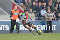 20130309 Copyright onEdition 2013©.Free for editorial use image, please credit: onEdition..Ben Botica of Harlequins takes a conversion attempt  during the LV= Cup semi final match between Harlequins and Bath Rugby at The Twickenham Stoop on Saturday 9th March 2013 (Photo by Rob Munro)..For press contacts contact: Sam Feasey at brandRapport on M: +44 (0)7717 757114 E: SFeasey@brand-rapport.com..If you require a higher resolution image or you have any other onEdition photographic enquiries, please contact onEdition on 0845 900 2 900 or email info@onEdition.com.This image is copyright onEdition 2013©..This image has been supplied by onEdition and must be credited onEdition. The author is asserting his full Moral rights in relation to the publication of this image. Rights for onward transmission of any image or file is not granted or implied. Changing or deleting Copyright information is illegal as specified in the Copyright, Design and Patents Act 1988. If you are in any way unsure of your right to publish this image please contact onEdition on 0845 900 2 900 or email info@onEdition.com