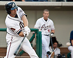 Reno Aces A.J. Pollock doubles against the Albuquerque Isotopes during their game played on Saturday night, August 11, 2012 in Reno, Nevada.