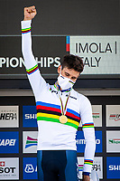 Picture by Alex Whitehead/SWpix.com - 25/09/2020 - Cycling - 2020 UCI Road World Championships - Imola, Emilia-Romagna, Italy - Filippo Ganna of Italy wins Gold in the Elite Men's Time Trial. - SANTINI