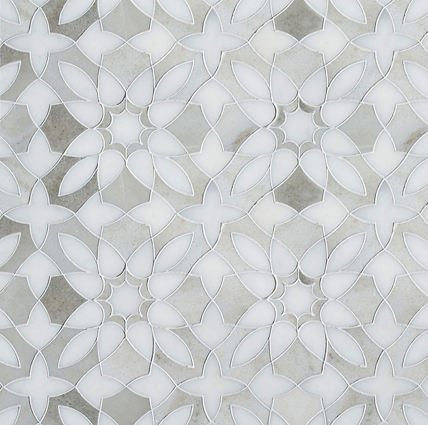 Valencia, a waterjet mosaic, shown in Afyon White and Angora, is part of the Miraflores collection by Paul Schatz for New Ravenna.