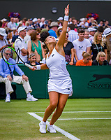 London, England, 5 th. July, 2018, Tennis,  Wimbledon, Womans doubles: Lesley Kerkhove (NED) <br /> Photo: Henk Koster/tennisimages.com