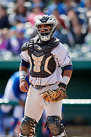 Kane County Cougars catcher Alexis Olmeda (23) during a game against the South Bend Cubs on May 3, 2017 at Four Winds Field in South Bend, Indiana.  South Bend defeated Kane County 6-2.  (Mike Janes/Four Seam Images)