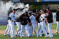 The Kane County Cougars celebrate a walk-off victory over the Cedar Rapids Kernels during a Midwest League game at Northwestern Medicine Field on April 28, 2019 in Geneva, Illinois. Kane County defeated Cedar Rapids 3-2 in game one of a doubleheader. (Zachary Lucy/Four Seam Images)