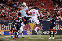 New England Revolution goalkeeper Matt Reis (1) grabs a pass intended for Macoumba Kandji (10) of the New York Red Bulls. The New York Red Bulls and the New England Revolution played to a 1-1 tie during a Major League Soccer match at Giants Stadium in East Rutherford, NJ, on September 18, 2009.
