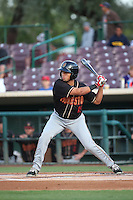 Omar Carrizales (19) of the Modesto Nuts bats against the Inland Empire 66ers at San Manuel Stadium on May 20, 2016 in San Bernardino, California. Inland Empire defeated Modesto, 4-2. (Larry Goren/Four Seam Images)