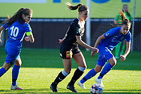 Aalst's forward Daisy Baudewijns and Genk's defender Fleur Bienkens in action during a female soccer game between Eendracht Aalst and Racing Genk on the fifth matchday of the 2020 - 2021 season of Belgian Scooore Womens Super League , Saturday 28 th of November 2020  in Aalst , Belgium . PHOTO SPORTPIX.BE | SPP | SEVIL OKTEM
