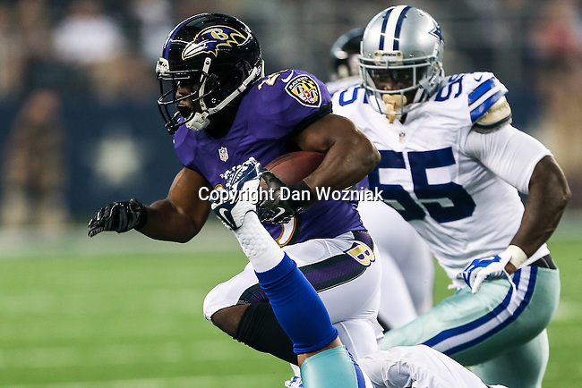 Baltimore Ravens running back Justin Forsett (29) in action during the pre-season game between the Baltimore Ravens and the Dallas Cowboys at the AT & T stadium in Arlington, Texas. Baltimore defeats Dallas  37-30.