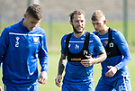 St Johnstone Training….13.09.19     McDiarmid Park, Perth<br />Stevie May pictured during training this morning ahead of tomorrows game at Aberdeen with Wallace Duffy and Liam Gordon<br />Picture by Graeme Hart.<br />Copyright Perthshire Picture Agency<br />Tel: 01738 623350  Mobile: 07990 594431