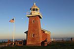 Surf Museum and moon in Santa Cruz, FB 409  Front Mark Abbott Memorial Lighthouse, Santa Cruz