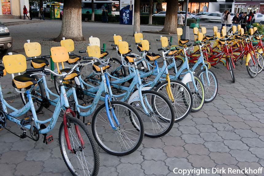Leihfahrräder in Bishkek, Kirgistan, Asien<br /> hire bike, Bishkek, Kirgistan, Asia