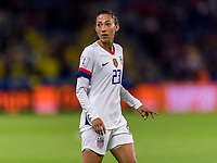 LE HAVRE,  - JUNE 20: Christen Press #23 looks for the play during a game between Sweden and USWNT at Stade Oceane on June 20, 2019 in Le Havre, France.