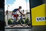 Jeremy Cabot (FRA) TotalEnergies at sign on before Stage 6 of the 2021 Tour de France, running 160.6km from Tours to Chateauroux, France. 1st July 2021.  <br /> Picture: A.S.O./Pauline Ballet | Cyclefile<br /> <br /> All photos usage must carry mandatory copyright credit (© Cyclefile | A.S.O./Pauline Ballet)