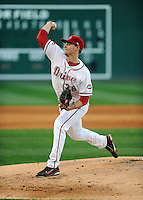 Pitcher Justin Haley (38) of the Greenville Drive in a game against the Charleston RiverDogs on Opening Day, Friday, April 5, 2013, at Fluor Field at the West End in Greenville, South Carolina. (Tom Priddy/Four Seam Images)