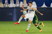 CARSON, CA - OCTOBER 07: Nicholas DePuy #20 of the Los Angeles Galaxy traps the ball during a game between Portland Timbers and Los Angeles Galaxy at Dignity Heath Sports Park on October 07, 2020 in Carson, California.