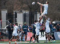 WASHINGTON, DC - FEBRUARY 16: Dylan Pieterse #19 of Old Glory DC reaches out for the ball in the line out during a game between Seattle Seawolves and Old Glory DC at Cardinal Stadium on February 16, 2020 in Washington, DC.